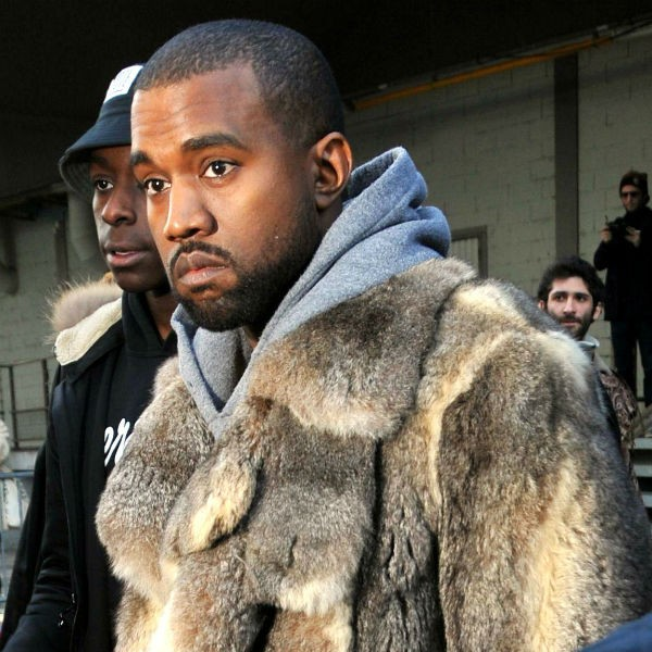 Kanye West pictured at Paris Fashion Week