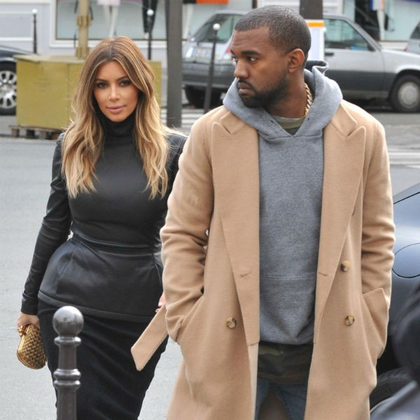 Kanye West and Kim Kardashian pictured at Paris Fashion Week