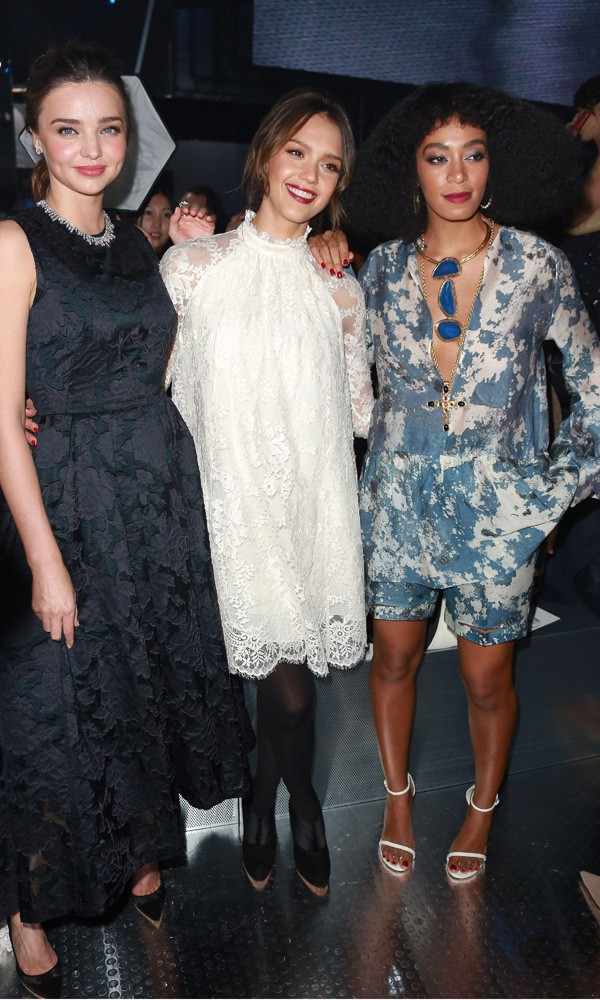 Miranda Kerr, Jessica Alba and Solange Knowles at H&M