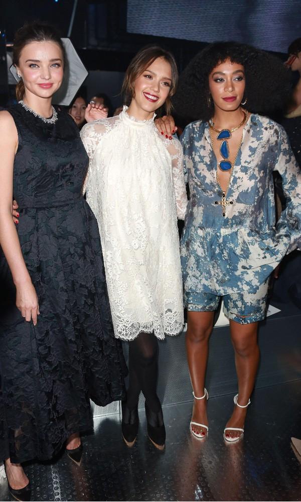 Miranda Kerr, Jessica Alba and Solange Knowles at H&M