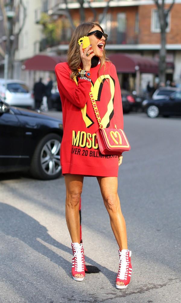 Anna Dello Russo wearing Moschino